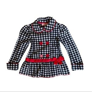 Fleece Jacket (4T) Black&white houndstooth, red